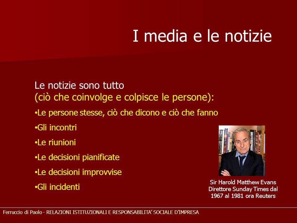 I media e le notizie Le notizie sono tutto (ciò che coinvolge e colpisce le persone): Le persone stesse, ciò che dicono e ciò che fanno Gli incontri L