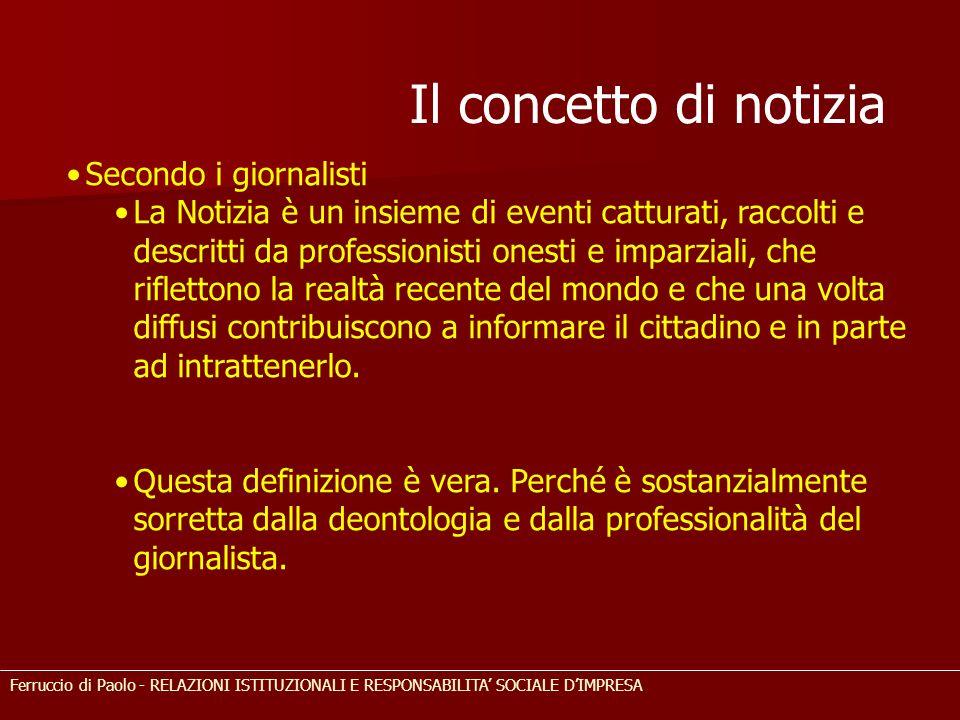 Il concetto di notizia Secondo i giornalisti La Notizia è un insieme di eventi catturati, raccolti e descritti da professionisti onesti e imparziali,