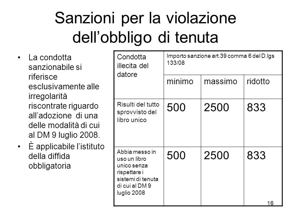 16 Sanzioni per la violazione dellobbligo di tenuta La condotta sanzionabile si riferisce esclusivamente alle irregolarità riscontrate riguardo allado