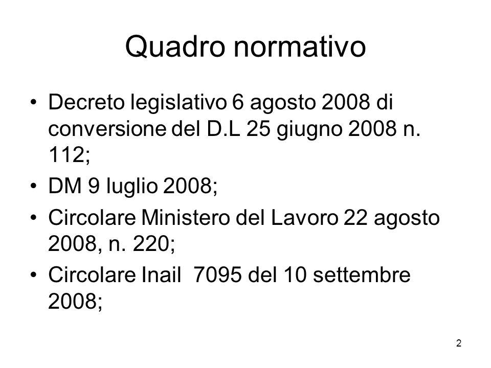 2 Quadro normativo Decreto legislativo 6 agosto 2008 di conversione del D.L 25 giugno 2008 n. 112; DM 9 luglio 2008; Circolare Ministero del Lavoro 22