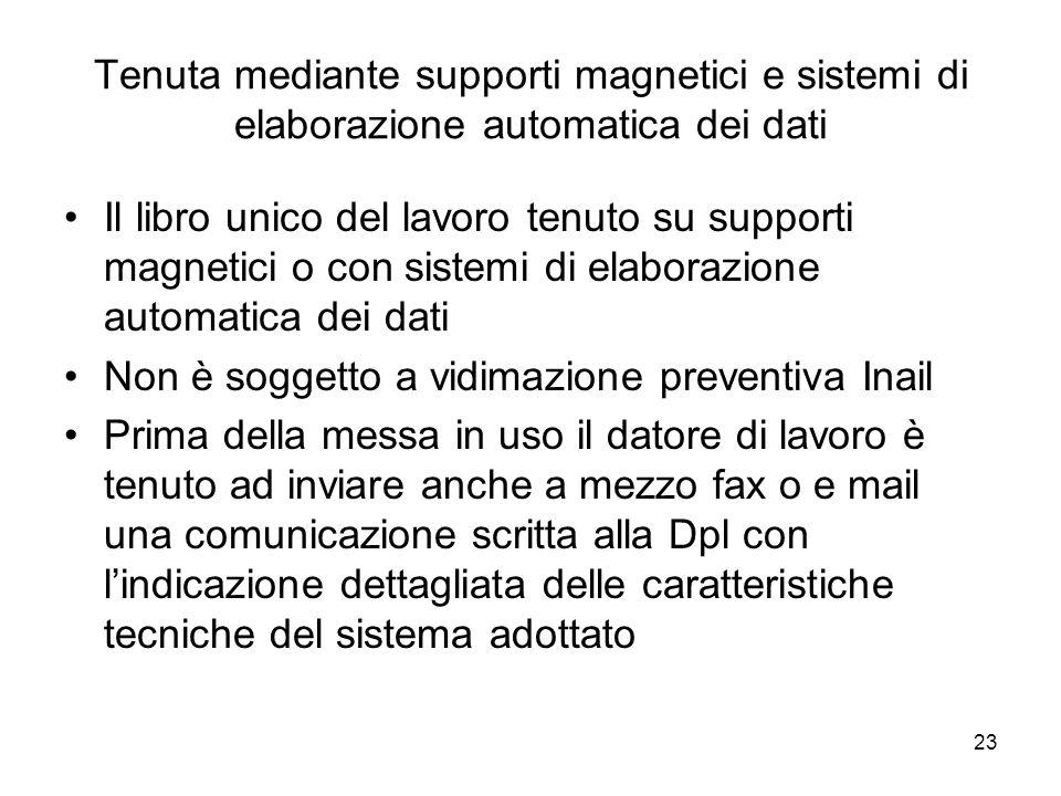 23 Tenuta mediante supporti magnetici e sistemi di elaborazione automatica dei dati Il libro unico del lavoro tenuto su supporti magnetici o con siste