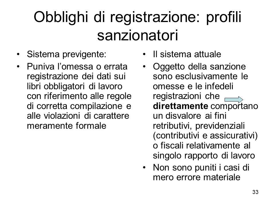 33 Obblighi di registrazione: profili sanzionatori Sistema previgente: Puniva lomessa o errata registrazione dei dati sui libri obbligatori di lavoro