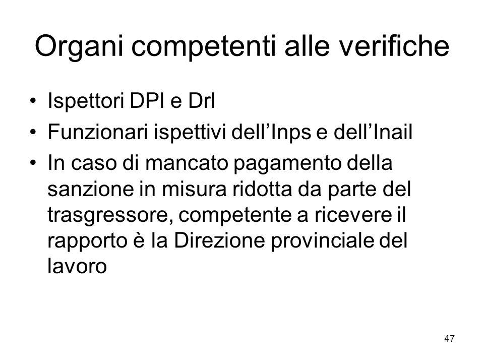 47 Organi competenti alle verifiche Ispettori DPl e Drl Funzionari ispettivi dellInps e dellInail In caso di mancato pagamento della sanzione in misur