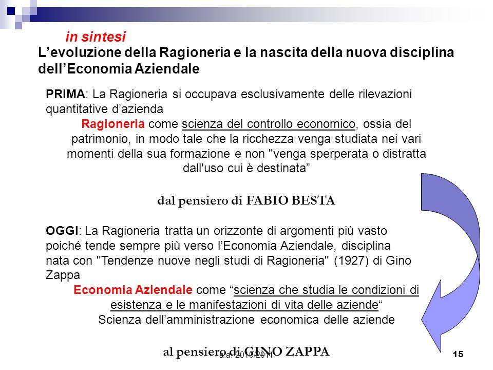 a.a. 2010/201115 PRIMA: La Ragioneria si occupava esclusivamente delle rilevazioni quantitative dazienda Ragioneria come scienza del controllo economi