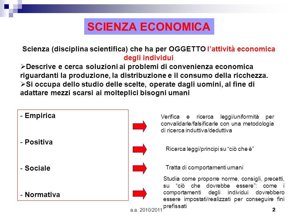 a.a. 2010/20112 Scienza (disciplina scientifica) che ha per OGGETTO lattività economica degli individui Descrive e cerca soluzioni ai problemi di conv