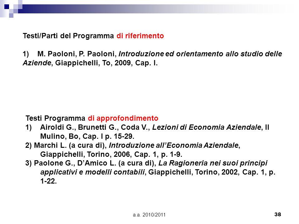 a.a. 2010/201138 Testi/Parti del Programma di riferimento 1)M. Paoloni, P. Paoloni, Introduzione ed orientamento allo studio delle Aziende, Giappichel