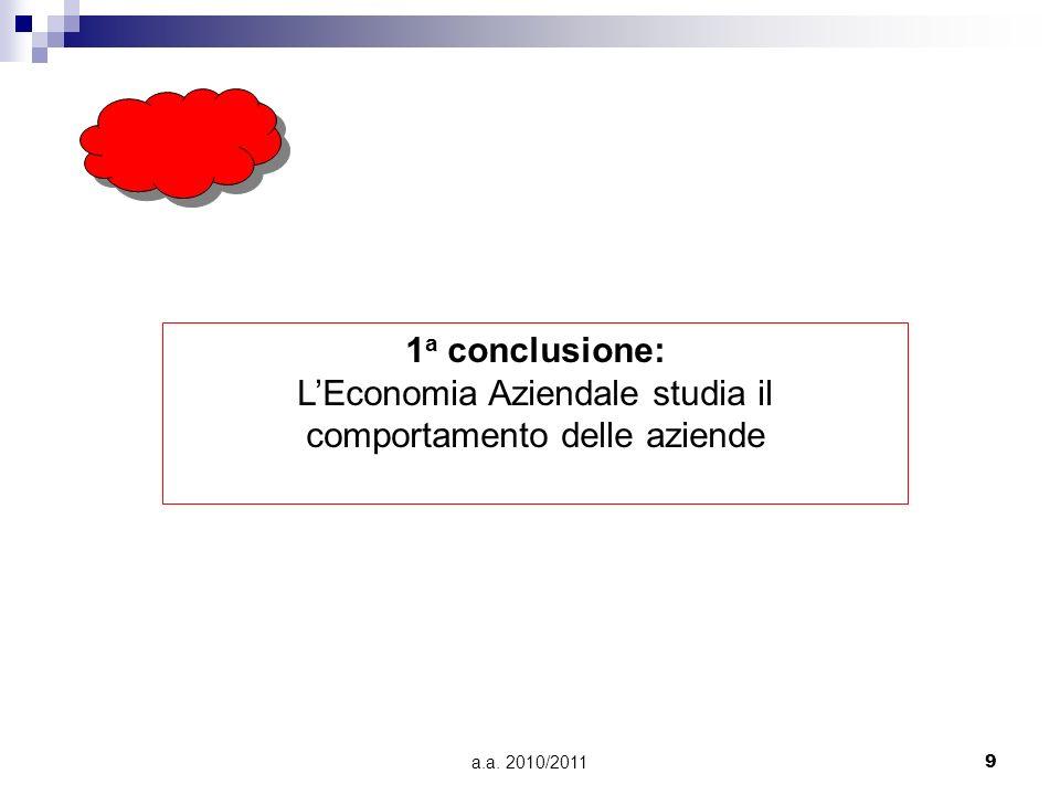 a.a. 2010/20119 1 a conclusione: LEconomia Aziendale studia il comportamento delle aziende