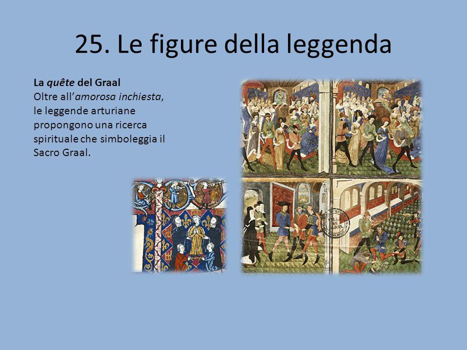 25. Le figure della leggenda La quête del Graal Oltre allamorosa inchiesta, le leggende arturiane propongono una ricerca spirituale che simboleggia il