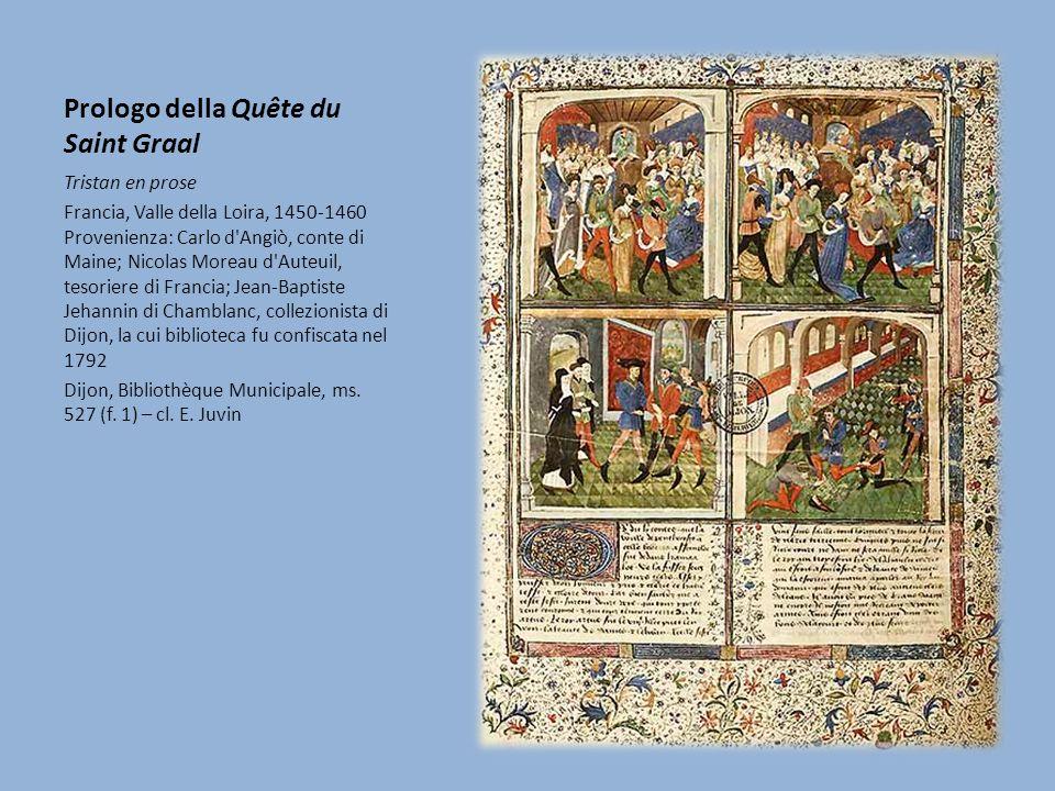 Prologo della Quête du Saint Graal In testa al manoscritto, la miniatura di grandi dimensioni divisa in quattro parti illustra l inizio della ricerca del Graal.
