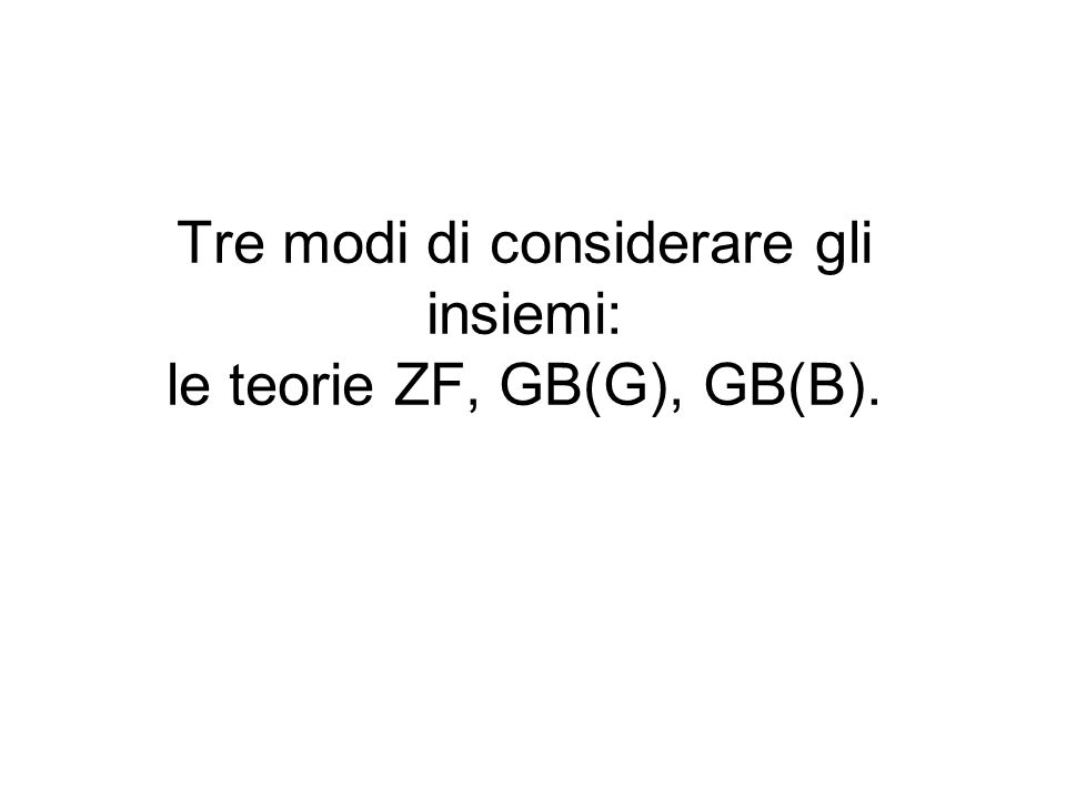 Tre modi di considerare gli insiemi: le teorie ZF, GB(G), GB(B).
