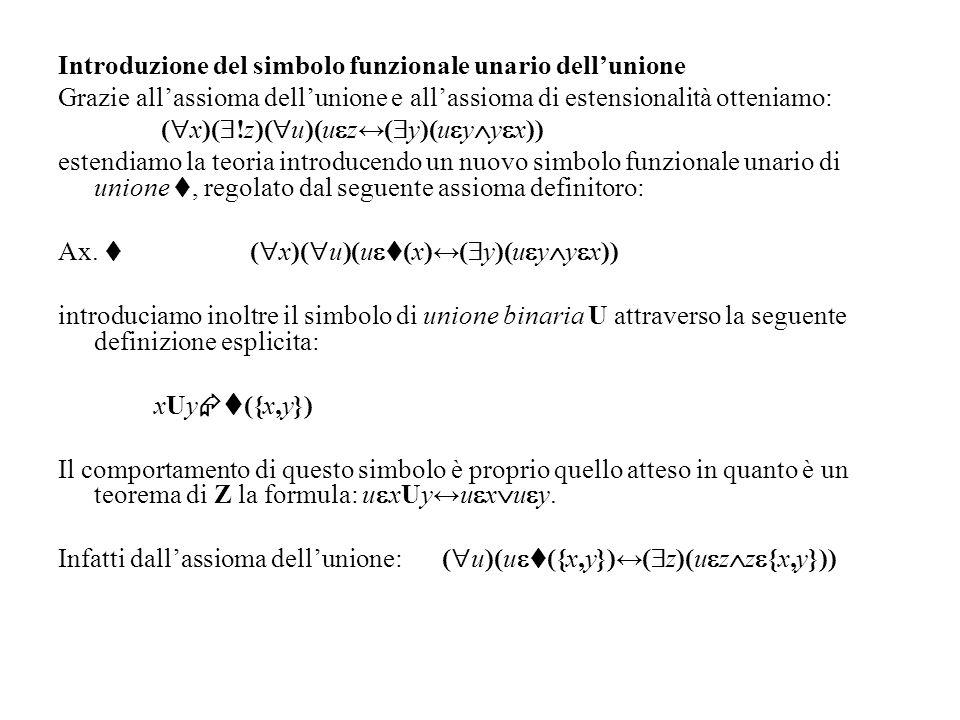 Introduzione del simbolo funzionale unario dellunione Grazie allassioma dellunione e allassioma di estensionalità otteniamo: ( x)( !z)( u)(u z( y)(u y