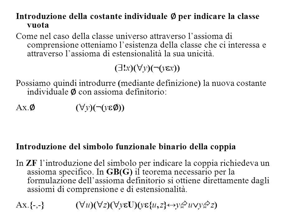 Introduzione della costante individuale per indicare la classe vuota Come nel caso della classe universo attraverso lassioma di comprensione otteniamo