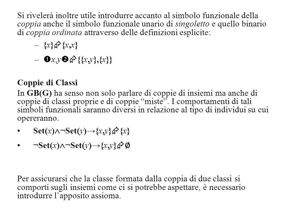 Si rivelerà inoltre utile introdurre accanto al simbolo funzionale della coppia anche il simbolo funzionale unario di singoletto e quello binario di c