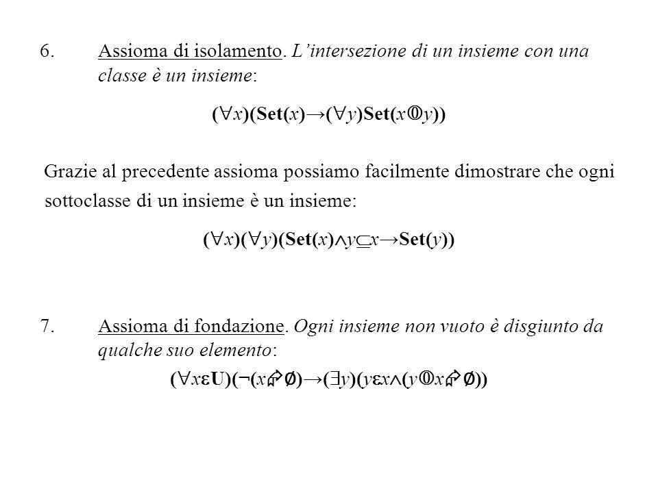 6.Assioma di isolamento. Lintersezione di un insieme con una classe è un insieme: ( x)(Set(x)( y)Set(x y)) Grazie al precedente assioma possiamo facil