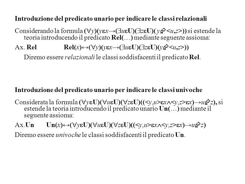 Introduzione del predicato unario per indicare le classi relazionali Considerando la formula ( y)(y x( u U)( z U)( y )) si estende la teoria introduce