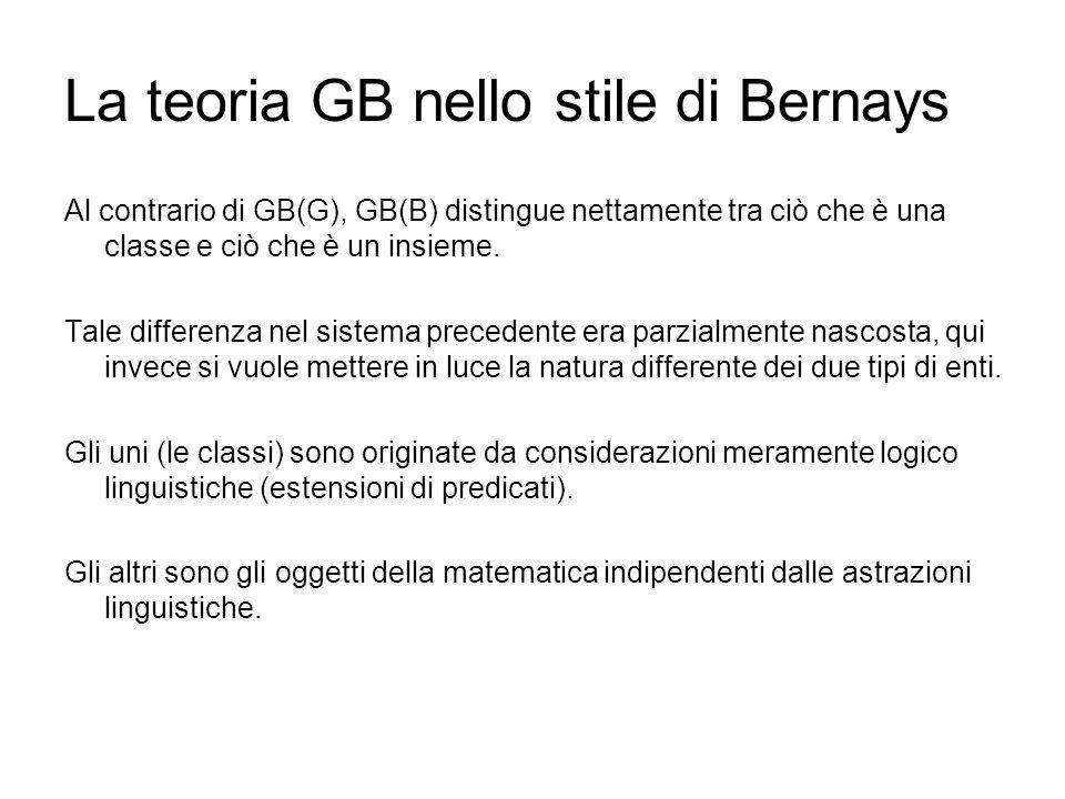 La teoria GB nello stile di Bernays Al contrario di GB(G), GB(B) distingue nettamente tra ciò che è una classe e ciò che è un insieme. Tale differenza
