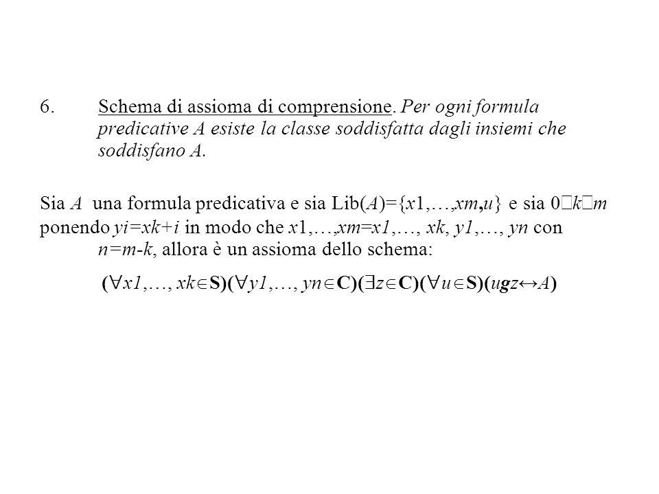6.Schema di assioma di comprensione. Per ogni formula predicative A esiste la classe soddisfatta dagli insiemi che soddisfano A. Sia A una formula pre