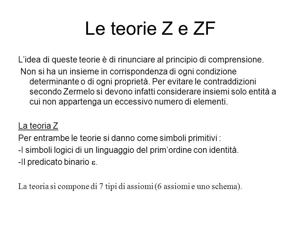Le teorie Z e ZF Lidea di queste teorie è di rinunciare al principio di comprensione. Non si ha un insieme in corrispondenza di ogni condizione determ