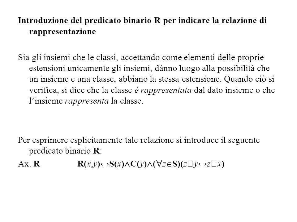 Introduzione del predicato binario R per indicare la relazione di rappresentazione Sia gli insiemi che le classi, accettando come elementi delle propr
