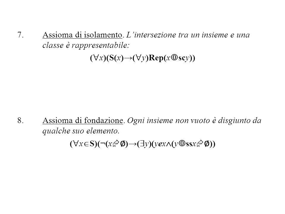 7.Assioma di isolamento. Lintersezione tra un insieme e una classe è rappresentabile: ( x)(S(x)( y)Rep(x scy)) 8.Assioma di fondazione. Ogni insieme n