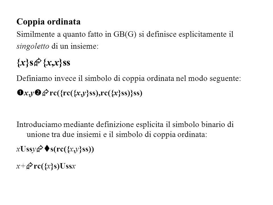 Coppia ordinata Similmente a quanto fatto in GB(G) si definisce esplicitamente il singoletto di un insieme: {x}s {x,x}ss Definiamo invece il simbolo d