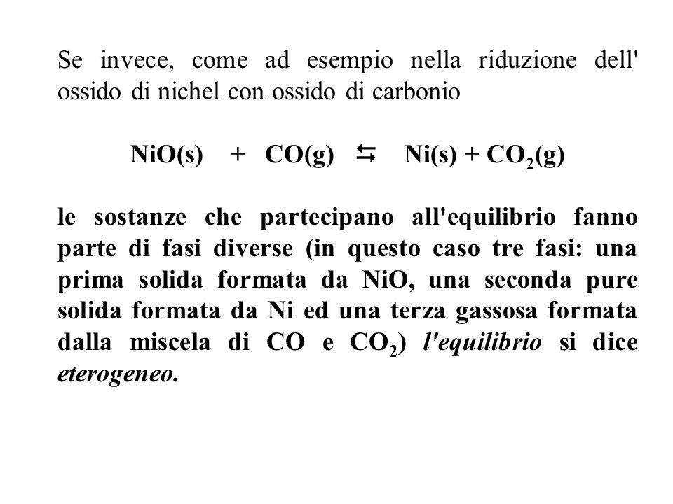 Se invece, come ad esempio nella riduzione dell ossido di nichel con ossido di carbonio NiO(s) + CO(g) Ni(s) + CO 2 (g) le sostanze che partecipano all equilibrio fanno parte di fasi diverse (in questo caso tre fasi: una prima solida formata da NiO, una seconda pure solida formata da Ni ed una terza gassosa formata dalla miscela di CO e CO 2 ) l equilibrio si dice eterogeneo.