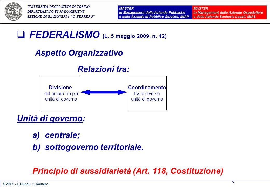 E A UNIVERSITÀ DEGLI STUDI DI TORINO DIPARTIMENTO DI MANAGEMENT SEZIONE DI RAGIONERIA G. FERRERO FEDERALISMO (L. 5 maggio 2009, n. 42) Aspetto Organiz