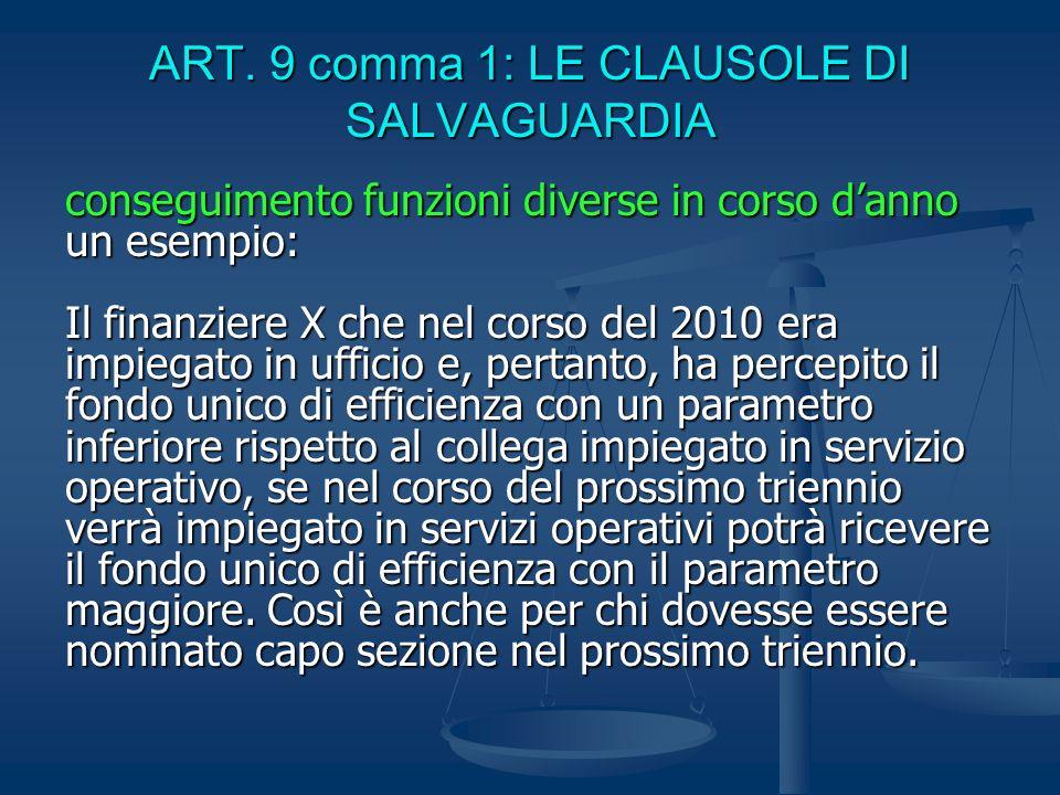 ART. 9 comma 1: LE CLAUSOLE DI SALVAGUARDIA conseguimento funzioni diverse in corso danno un esempio: Il finanziere X che nel corso del 2010 era impie