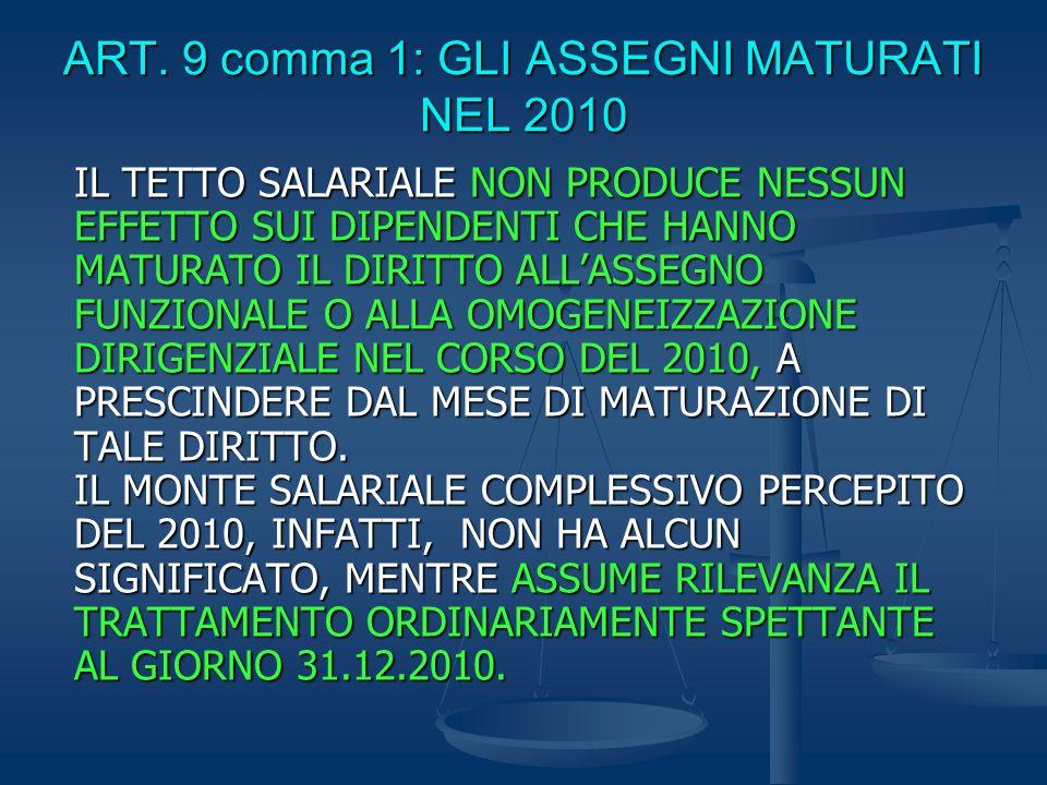 ART. 9 comma 1: GLI ASSEGNI MATURATI NEL 2010 IL TETTO SALARIALE NON PRODUCE NESSUN EFFETTO SUI DIPENDENTI CHE HANNO MATURATO IL DIRITTO ALLASSEGNO FU