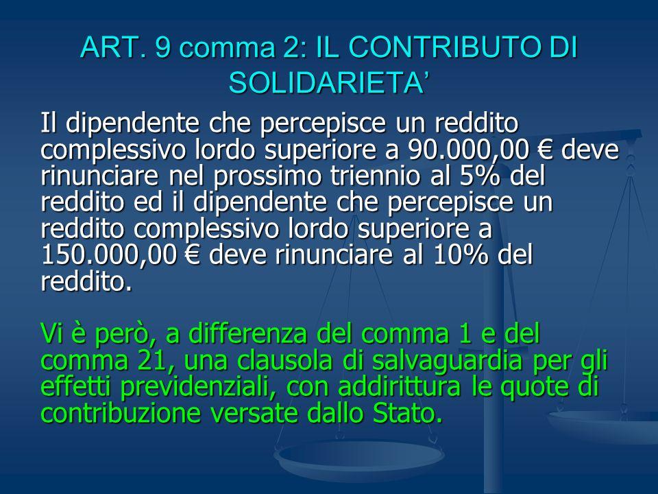 ART. 9 comma 2: IL CONTRIBUTO DI SOLIDARIETA Il dipendente che percepisce un reddito complessivo lordo superiore a 90.000,00 deve rinunciare nel pross