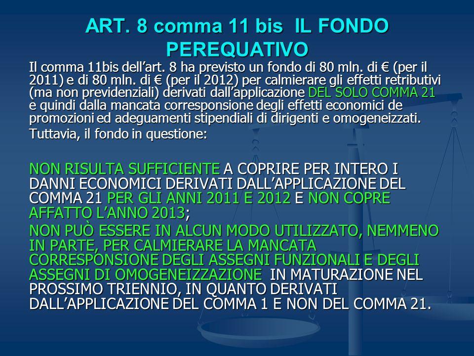 ART. 8 comma 11 bis IL FONDO PEREQUATIVO Il comma 11bis dellart. 8 ha previsto un fondo di 80 mln. di (per il 2011) e di 80 mln. di (per il 2012) per