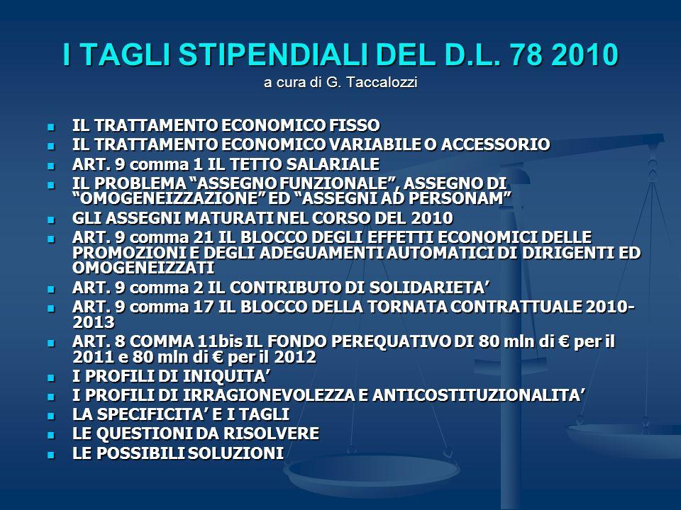 I TAGLI STIPENDIALI DEL D.L. 78 2010 a cura di G. Taccalozzi IL TRATTAMENTO ECONOMICO FISSO IL TRATTAMENTO ECONOMICO FISSO IL TRATTAMENTO ECONOMICO VA