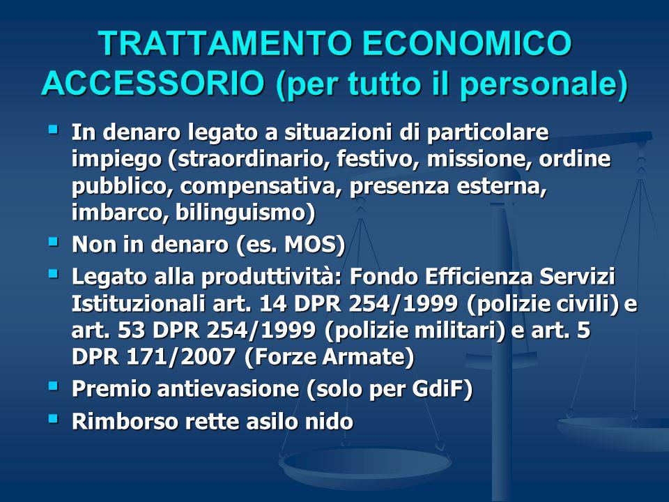 TRATTAMENTO ECONOMICO ACCESSORIO (per tutto il personale) In denaro legato a situazioni di particolare impiego (straordinario, festivo, missione, ordi