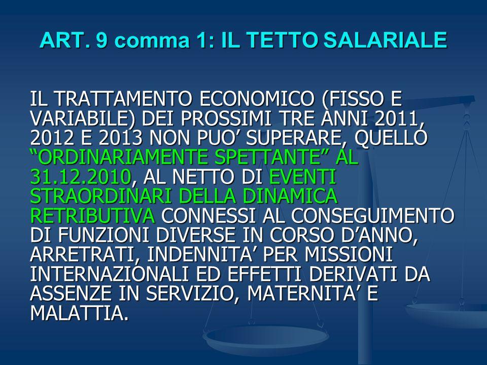 ART. 9 comma 1: IL TETTO SALARIALE IL TRATTAMENTO ECONOMICO (FISSO E VARIABILE) DEI PROSSIMI TRE ANNI 2011, 2012 E 2013 NON PUO SUPERARE, QUELLO ORDIN