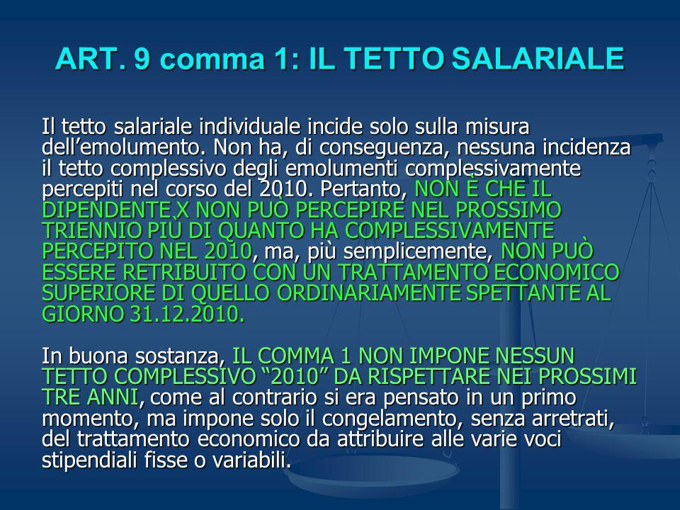 ART. 9 comma 1: IL TETTO SALARIALE Il tetto salariale individuale incide solo sulla misura dellemolumento. Non ha, di conseguenza, nessuna incidenza i