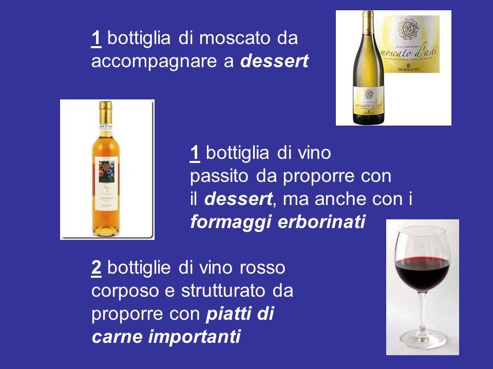1 bottiglia di moscato da accompagnare a dessert 1 bottiglia di vino passito da proporre con il dessert, ma anche con i formaggi erborinati 2 bottigli