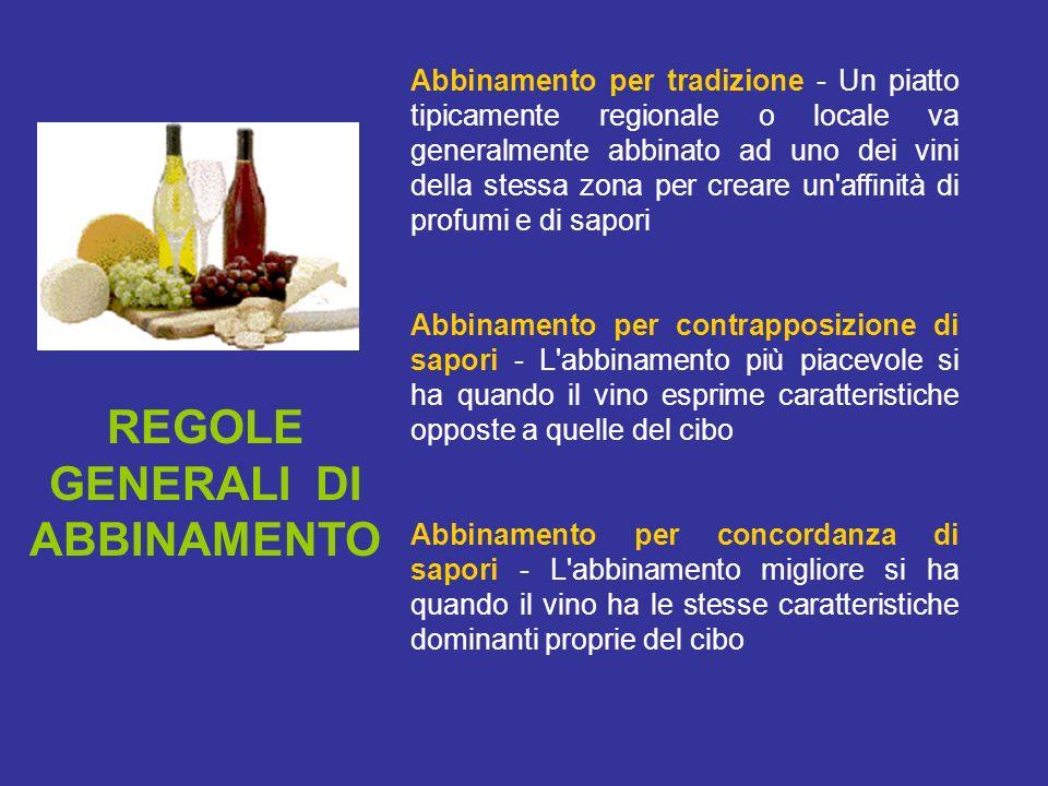REGOLE GENERALI DI ABBINAMENTO Abbinamento per tradizione - Un piatto tipicamente regionale o locale va generalmente abbinato ad uno dei vini della st