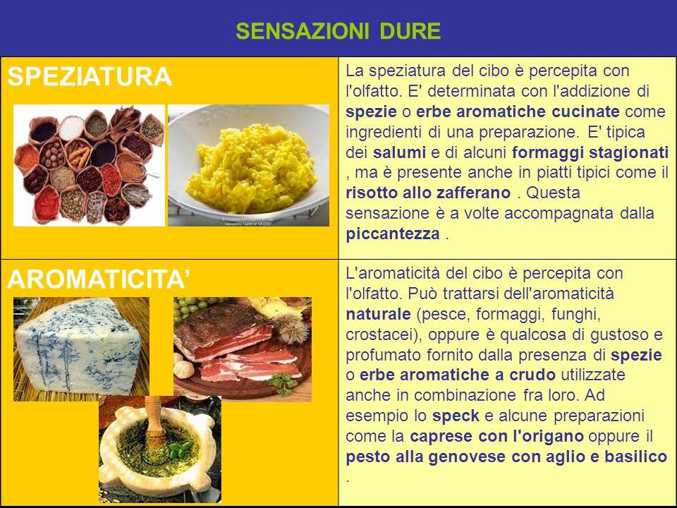SPEZIATURA La speziatura del cibo è percepita con l'olfatto. E' determinata con l'addizione di spezie o erbe aromatiche cucinate come ingredienti di u