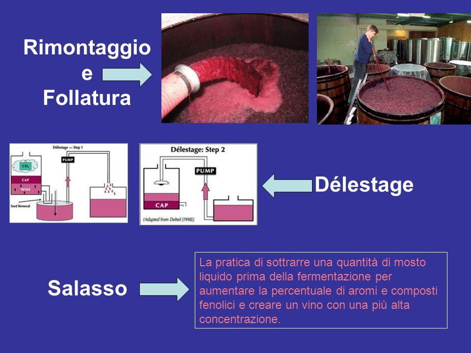 Délestage Rimontaggio e Follatura La pratica di sottrarre una quantità di mosto liquido prima della fermentazione per aumentare la percentuale di arom