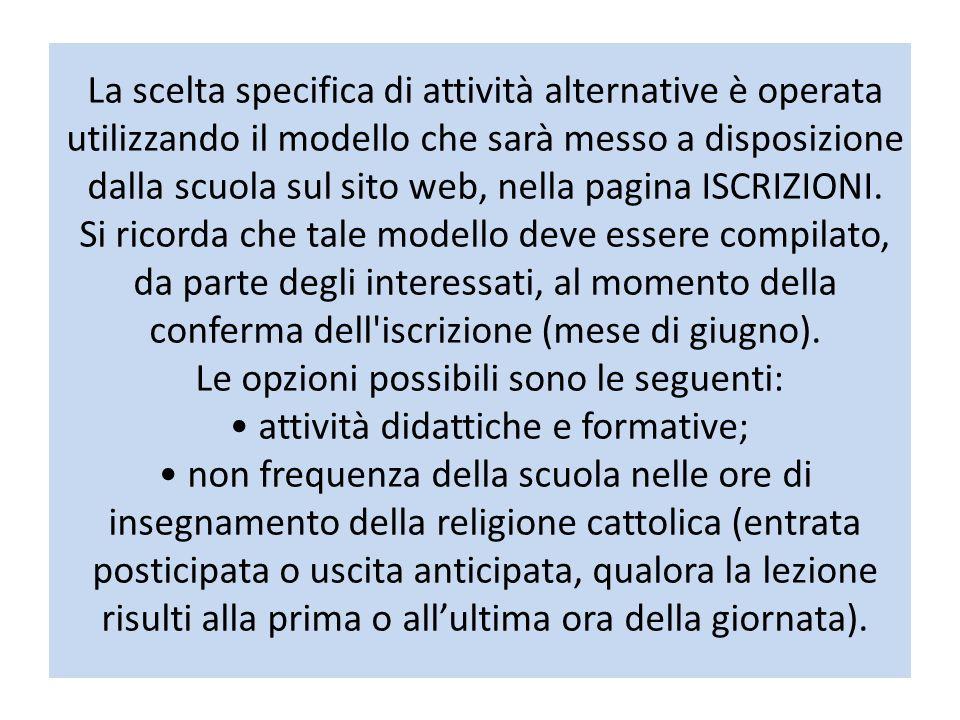La scelta specifica di attività alternative è operata utilizzando il modello che sarà messo a disposizione dalla scuola sul sito web, nella pagina ISCRIZIONI.