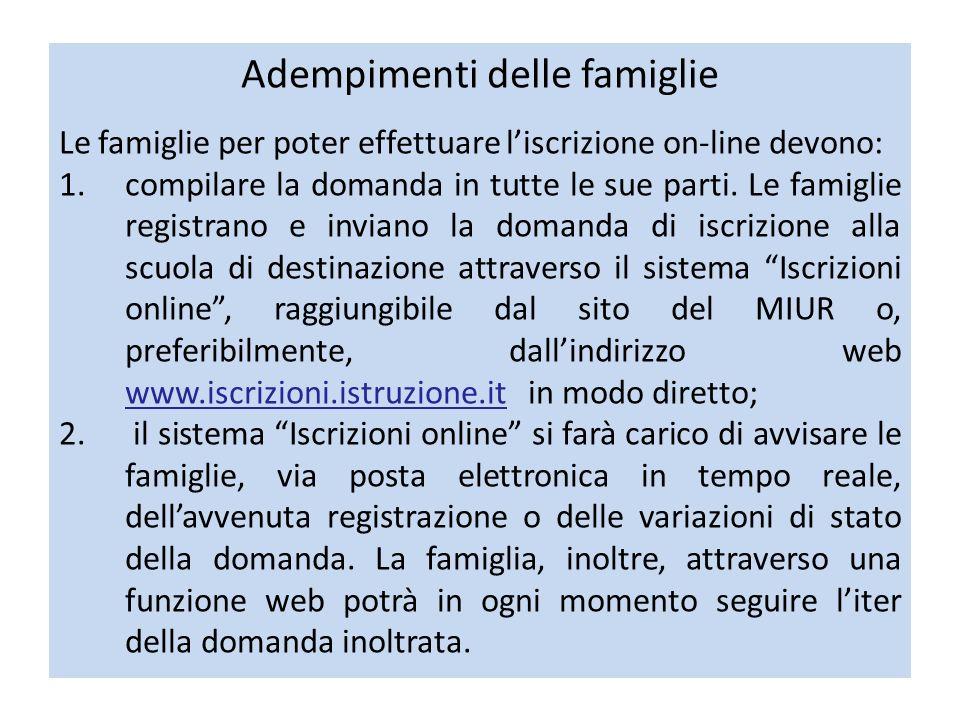 Adempimenti delle famiglie Le famiglie per poter effettuare liscrizione on-line devono: 1.compilare la domanda in tutte le sue parti.