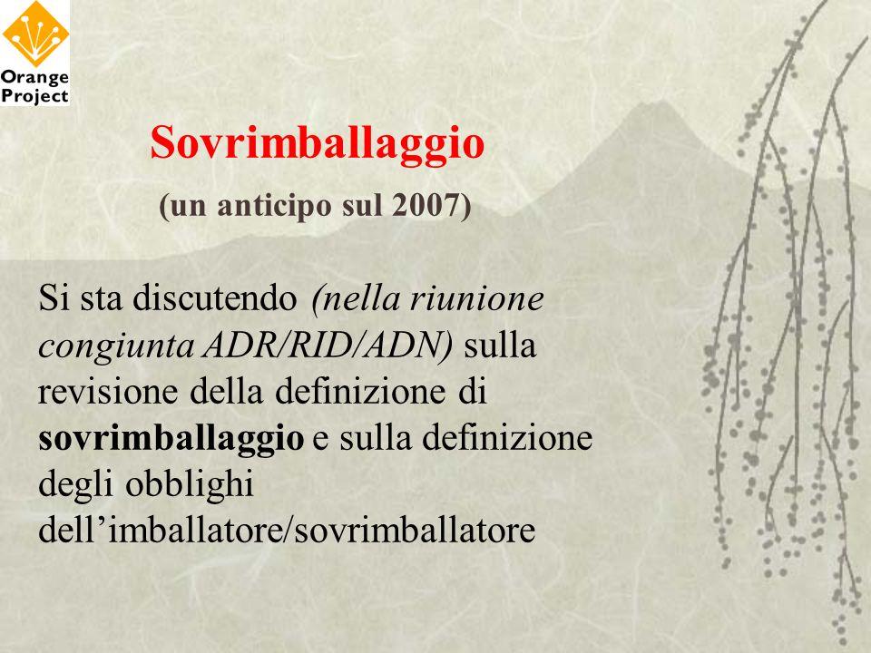 Sovrimballaggio (un anticipo sul 2007) Si sta discutendo (nella riunione congiunta ADR/RID/ADN) sulla revisione della definizione di sovrimballaggio e