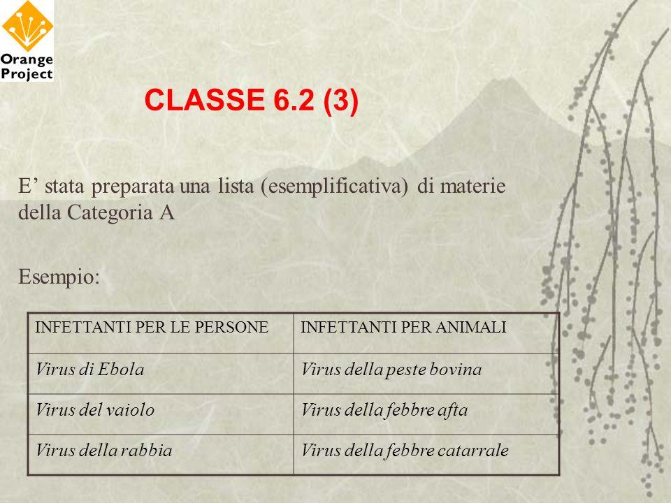 CLASSE 6.2 (3) E stata preparata una lista (esemplificativa) di materie della Categoria A Esempio: INFETTANTI PER LE PERSONEINFETTANTI PER ANIMALI Vir