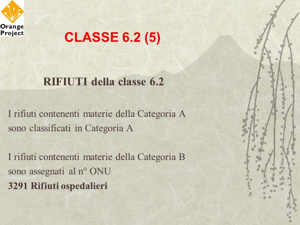 CLASSE 6.2 (5) RIFIUTI della classe 6.2 I rifiuti contenenti materie della Categoria A sono classificati in Categoria A I rifiuti contenenti materie d