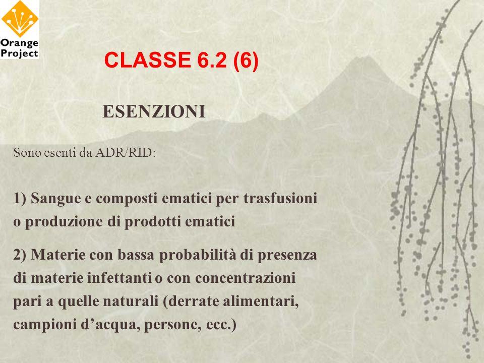 CLASSE 6.2 (6) ESENZIONI Sono esenti da ADR/RID: 1) Sangue e composti ematici per trasfusioni o produzione di prodotti ematici 2) Materie con bassa pr
