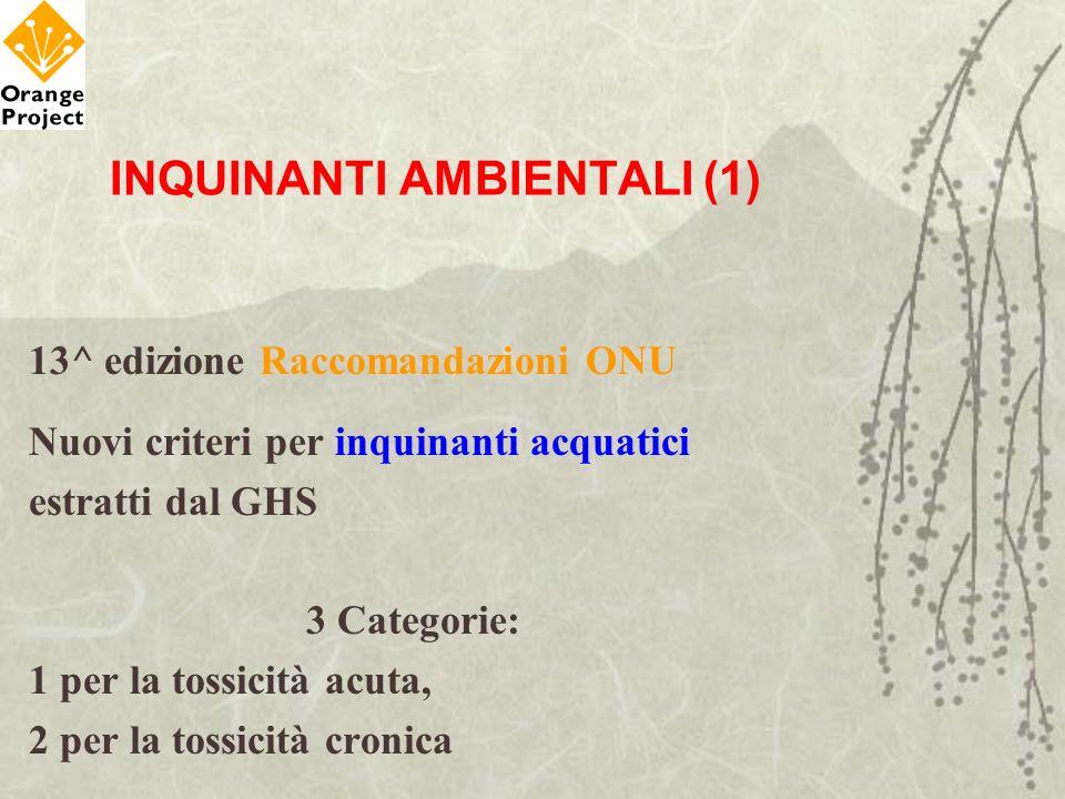 INQUINANTI AMBIENTALI (1) 13^ edizione Raccomandazioni ONU Nuovi criteri per inquinanti acquatici estratti dal GHS 3 Categorie: 1 per la tossicità acu