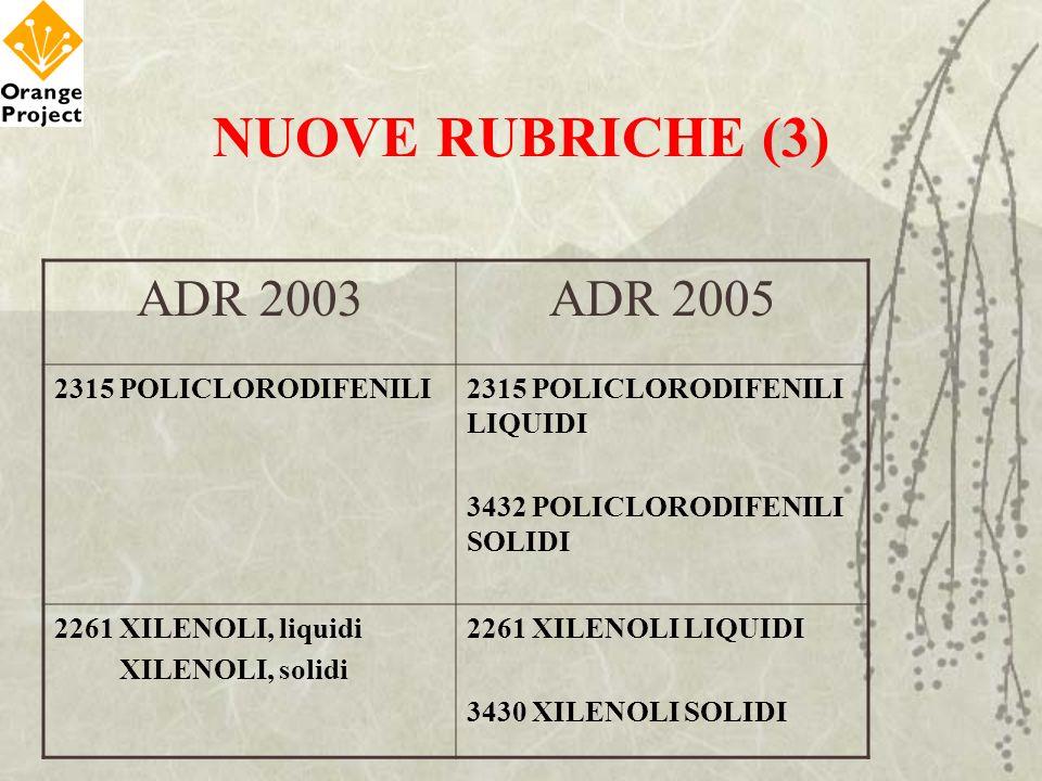 NUOVE RUBRICHE (3) ADR 2003ADR 2005 2315 POLICLORODIFENILI2315 POLICLORODIFENILI LIQUIDI 3432 POLICLORODIFENILI SOLIDI 2261 XILENOLI, liquidi XILENOLI