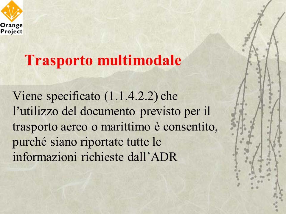 Trasporto multimodale Viene specificato (1.1.4.2.2) che lutilizzo del documento previsto per il trasporto aereo o marittimo è consentito, purché siano