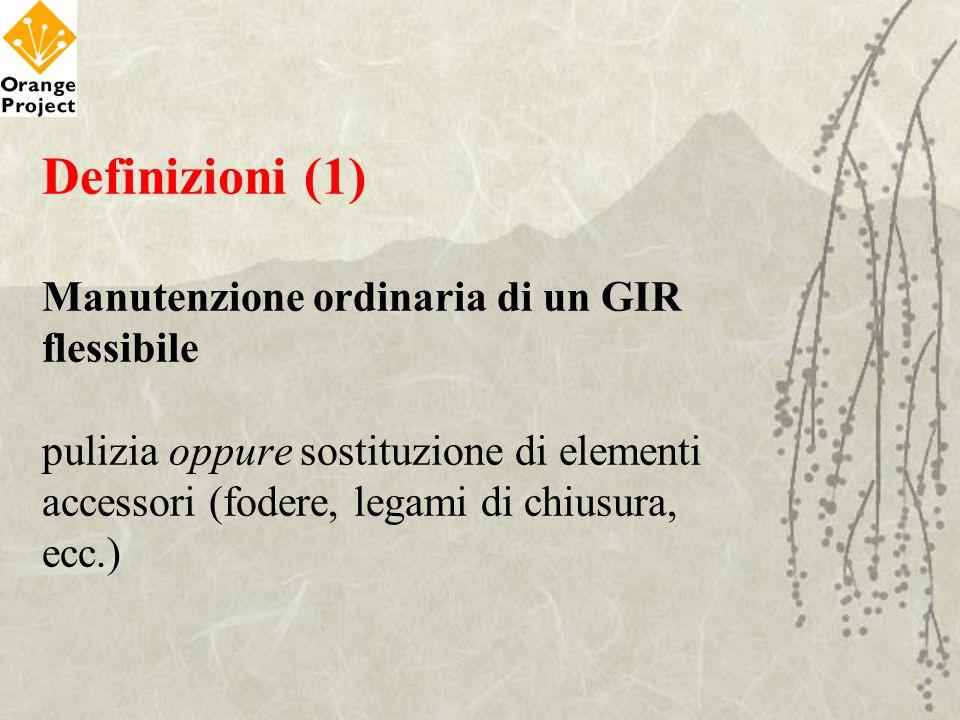 Definizioni (1) Manutenzione ordinaria di un GIR flessibile pulizia oppure sostituzione di elementi accessori (fodere, legami di chiusura, ecc.)