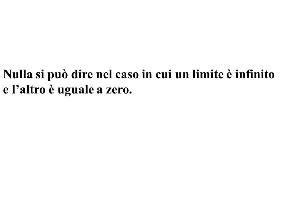 Nulla si può dire nel caso in cui un limite è infinito e laltro è uguale a zero.